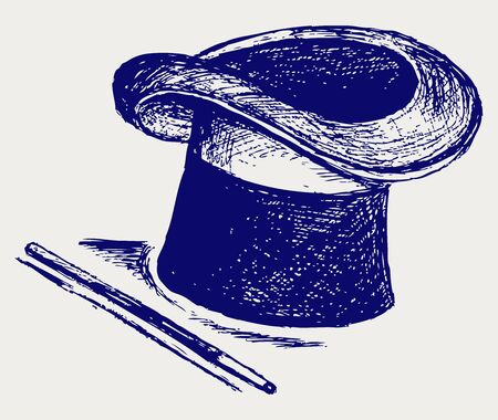 tophat: Magic hat with magic wand. Illustration