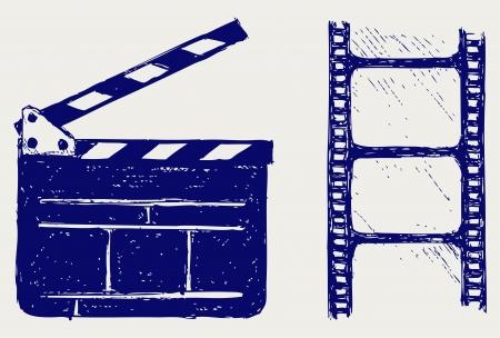 filmregisseur: Clapper board. schets Stock Illustratie