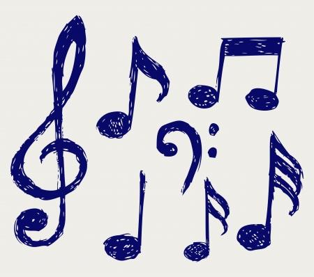 clave de sol: notas musicales. Dibujo Vectores