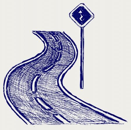 arte callejero: Curva de la carretera. Dibujo Vectores