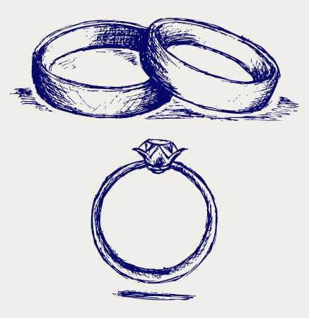 c�r�monie mariage: Esquisse au crayon. Les anneaux de mariage