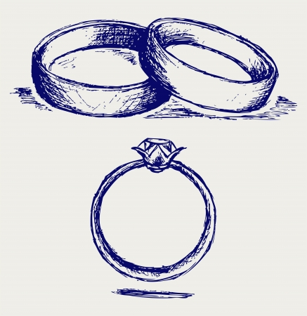 ring wedding: Sketch pencil. Wedding rings Illustration