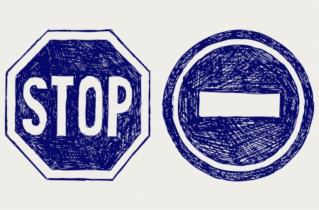 with stop sign: Two road signs. Sketch