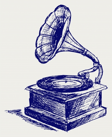 gramophone: Old record player  Sketch