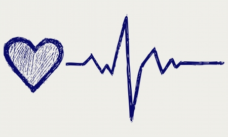heartbeat: Heart and heartbeat symbol  Sketch