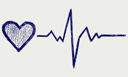 battement du coeur: Sketch symbole du coeur et des battements cardiaques Illustration