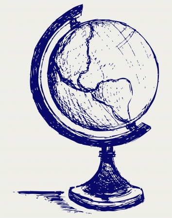 globe hand: Globe sketch