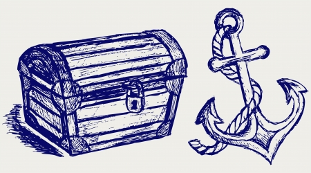 treasure: Chest sketch and anchor Illustration