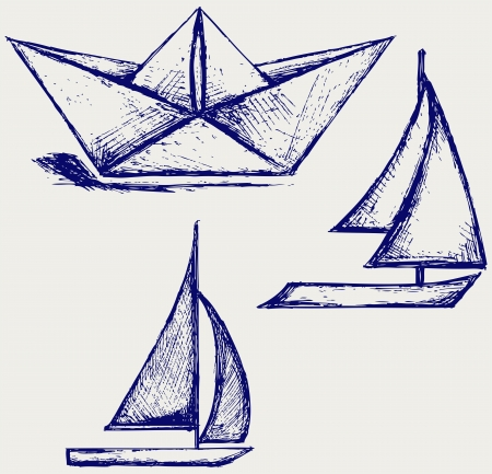 simple line drawing: Origami paper ship and sailboat sailing