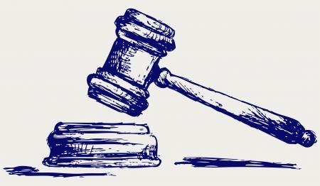 věta: Soudce palička skica Ilustrace