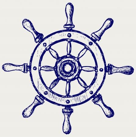 manuscrita: Marinha roda de madeira Ilustra��o
