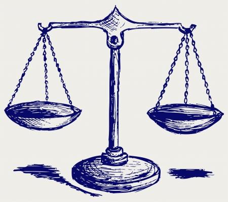 justicia: Escala de dibujo Vectores
