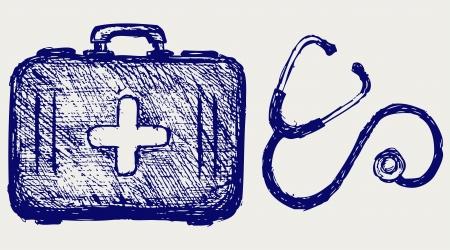 erste hilfe koffer: Stethoskop mit Erste-Hilfe-Kit. Skizze Illustration