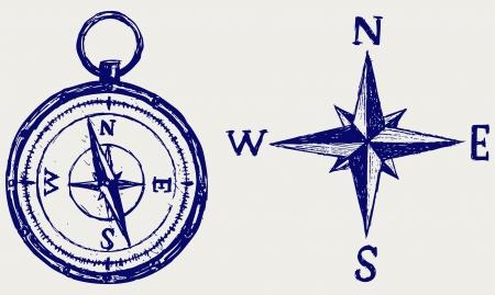 Compass sketch Illustration