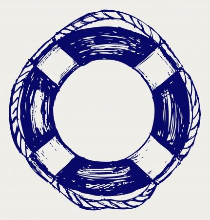 aro salvavidas: Cintur�n salvavidas. Dibujo Vectores