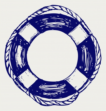 ring buoy: Life Belt. Sketch Illustration