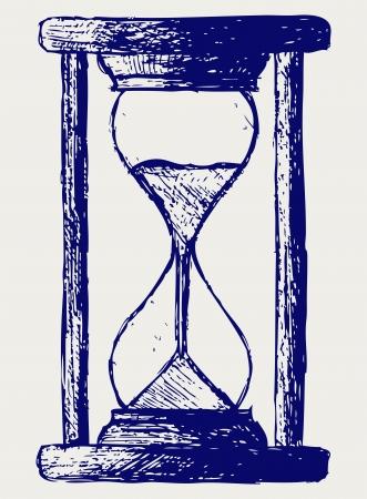 cartoon clock: Hourglass sketch