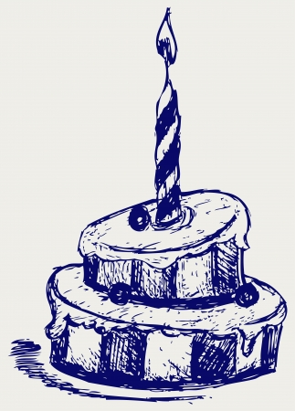 trekken: Leuke cupcake. Schets