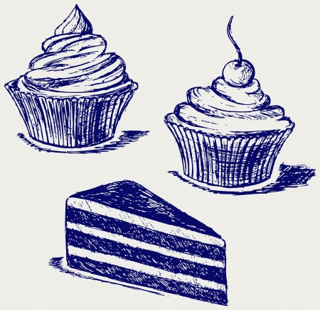 Cute cupcake. Sketch Vector