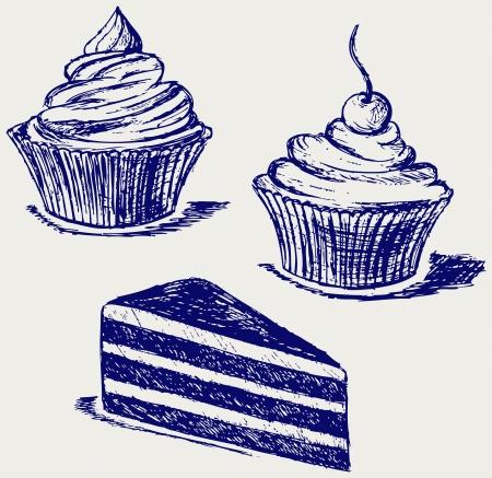 dessert muffin: Cute cupcake. Sketch