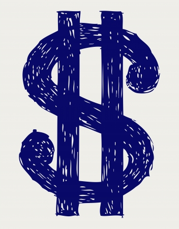 cartoon money: Dollar sign. Sketch Illustration