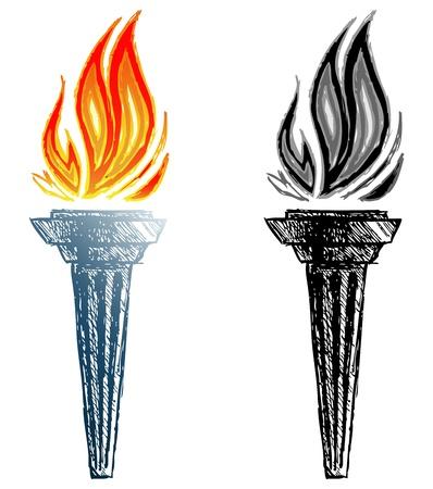 Burning torch. Sketch