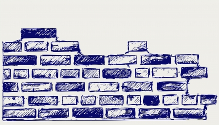 Old bricks. Sketch Illustration