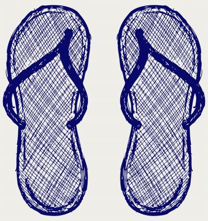 flop: Flip flop. Sketch Illustration