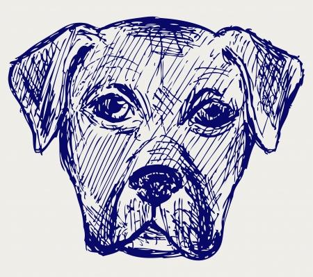 Portrait puppy. Sketch Vector