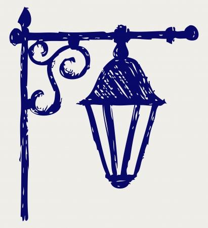 Old lamp. Sketch Vector