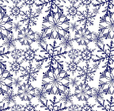 xmas linework: Background snowflake winter. Sketch seamless