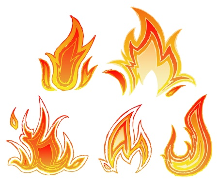 fireballs: Fire flames. Sketch