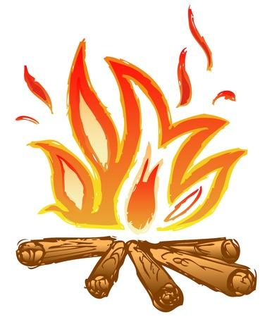 fogatas: Llamas de fuego. Dibujo