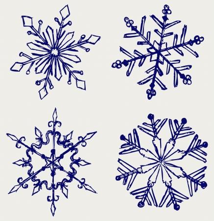snowflake set: Snowflake winter. Sketch Illustration