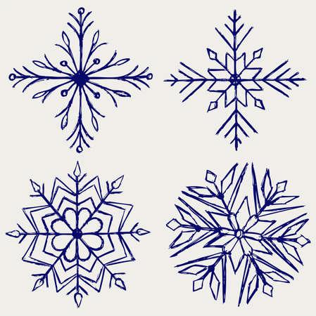xmas linework: Snowflake winter. Sketch Illustration