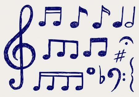 clave de fa: Vector musical notas. Dibujo