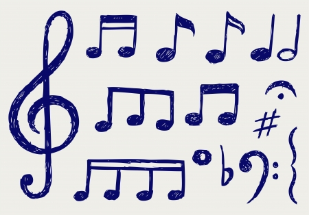 treble clef: Vector musical notes. Sketch Illustration