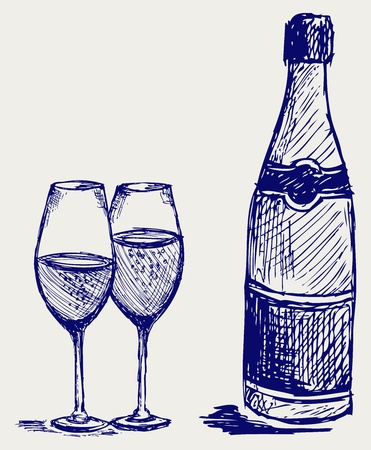xmas linework: Bottle and glass of champagne. Doodle style Illustration