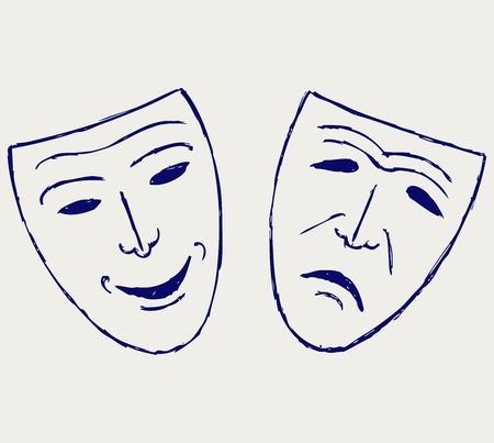 tragedy mask: Classic comedy-tragedy theater masks
