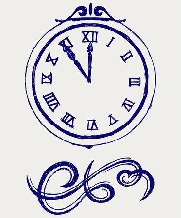 Clock and festive tinsels Vector