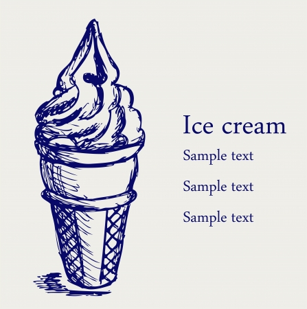ice cream cartoon: Soft serve ice. Sketch Illustration