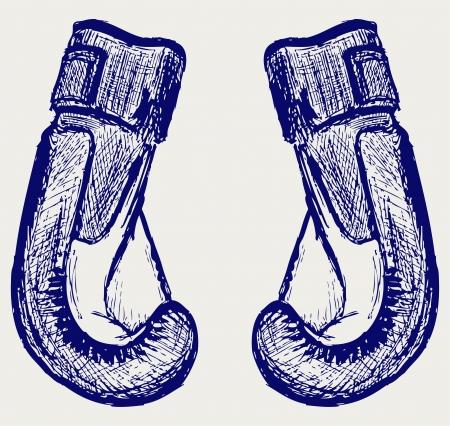 Boxing gloves. Sketch Vector