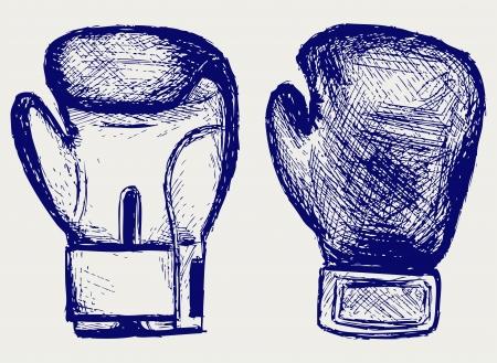 muay thai: Boxing gloves  Sketch Illustration