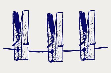 ballen: W�scheklammern am Seil Doodle Stil Illustration