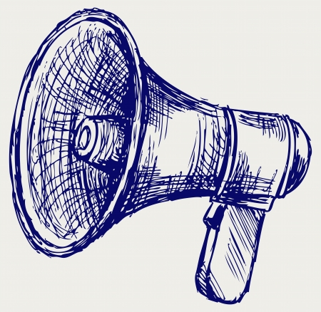 loudspeaker: Illustration of megaphone  Doodle style