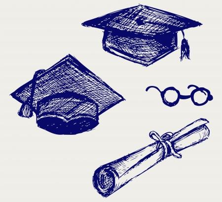 cartoon graduation: Casquillo de la graduaci�n, los puntos y el estilo diploma Doodle
