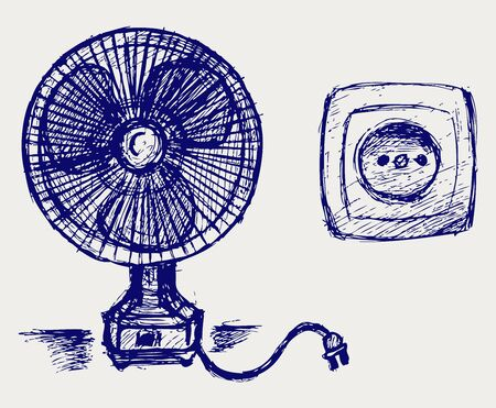 conditions: Electric fan and socket  Doodle style Illustration