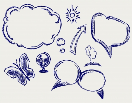 free thought: Hand drawn vector speech bubbles