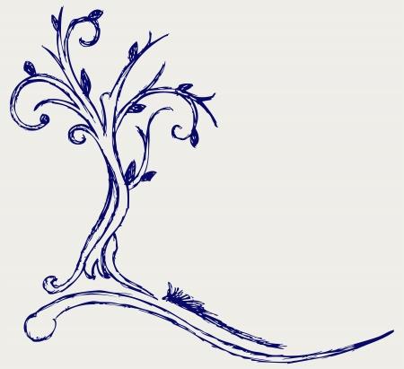 linden: 나무 낙서 스타일의 실루엣