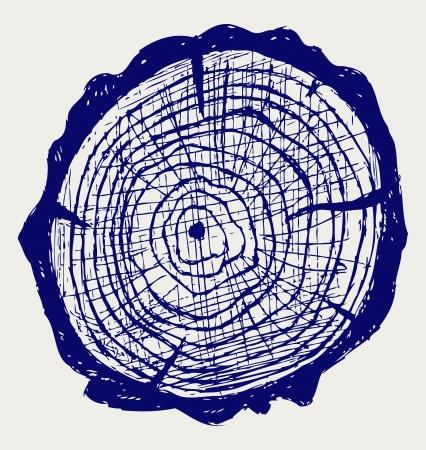 Dwarsdoorsnede van boomstronk Doodle stijl Vector Illustratie